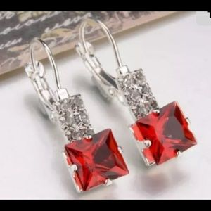 Jewelry - 🌹Silver Plated Czech RED Crystal Earrings 🌹NWT